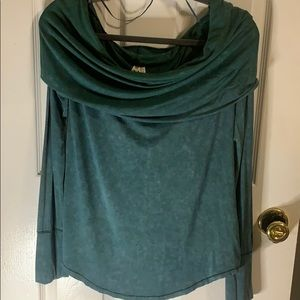 Boat neck free people teal green blouse